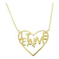 Vintage Je t'aime Heart Shape Pendant Necklace, 9kt yellow gold