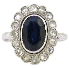 Sapphire and Rose cut Diamonds Cluster Ring, 18kt white gold and platinum, circa 1925