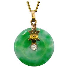 Jade Jadeite and Diamond Pendant, 18k Yellow Gold