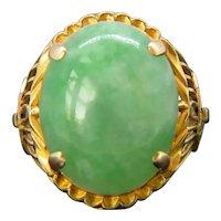 Vintage Jade Cabochon Ring, 18kt yellow gold, circa 1960