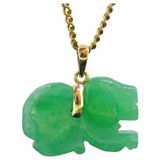 Jade Jadeite Carved Dog Pendant, 18k Yellow Gold