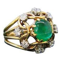 Retro Emerald Cabochon and Diamond Ring, 18kt Yellow Gold, circa 1960