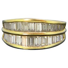 Vintage Baguette Diamonds Double Band Ring, 18kt yellow gold