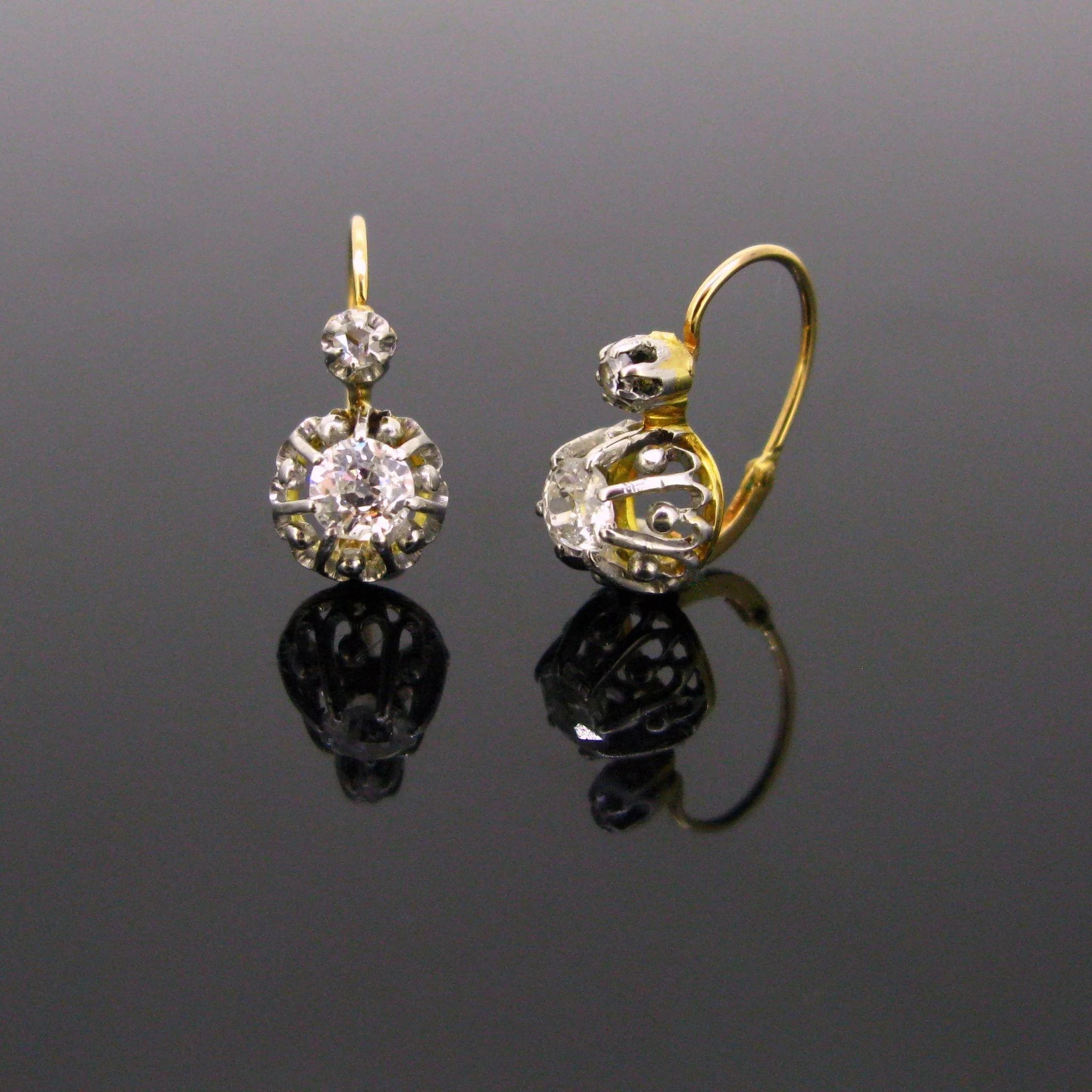 century antique drop vintage product diamond mid dangle jewelers earrings in filigree gold yellow