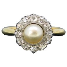 Antique Edwardian Pearl Old Cut Diamonds Cluster Ring, 18kt yellow gold and platinum, circa 1915