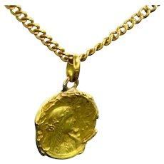 Rare Art Nouveau Medal, 18kt gold, circa 1900