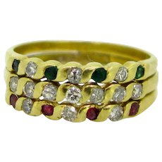Vintage 3 Bands Ruby Emerald Diamond Ring, 18kt Yellow Gold