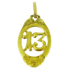 Antique French Lucky 13 charm / pendant ~ c.1900