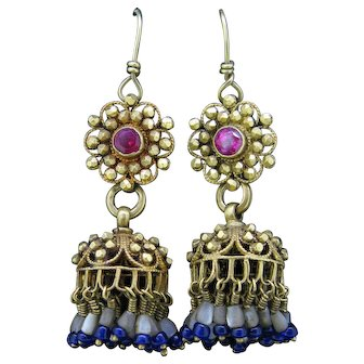 Antique Pendant Dangle Earrings Nacre, Red Stone, 20kt Gold