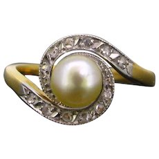 Antique French Art Nouveau Pearl diamonds Tourbillon ring, 18kt gold and platinum, circa 1910