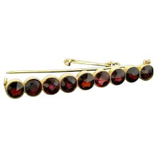 Victorian Garnet, 18kt Yellow Gold Brooch