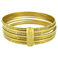 French Art Nouveau Semainier Bangle, 18kt gold, circa 1905