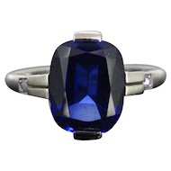 Art Deco Synthetic Sapphire and diamonds ring, France, circa 1920