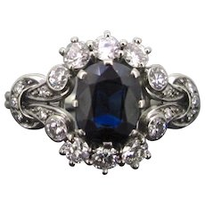 Vintage Sapphire and diamonds Daisy cluster ring, 18kt gold, circa 1950