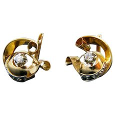 French Retro Diamond Earrings, 18kt Yellow Gold