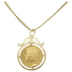 French Art Nouveau Gallic warrior medal, 18kt gold, circa 1900