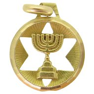 Vintage Magen / Star of David Menorah  Pendant / Charm, 18kt Yellow Gold