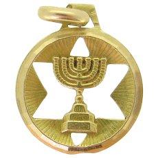 Vintage Magen / Star of David Menorah  Pendant / Charm, 18kt Yellow Gold