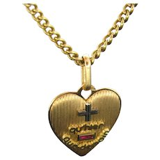 """Vintage French """"+ Que hier - Que demain""""  Heart Pendant Love Charm by A. AUGIS"""