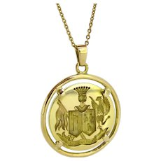 Vintage Family Crest Pendant, 18kt gold, France