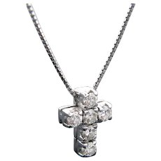 Diamond Cross Pendant Necklace, 18kt White Gold