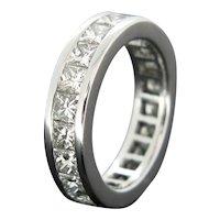 Diamond Princess Cut Wedding Eternity White Gold Band Ring
