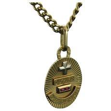 """Vintage """"Plus qu'hier moins que demain"""" Augis Medal, Oval Shape Pendant Charm"""