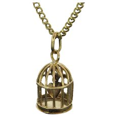 Antique Heart in Bird Cage Pendant, 18kt yellow gold, early 20th century