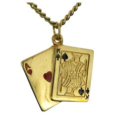 Vintage Playing Cards Pendant Charm, 18kt Yellow Gold, circa 1940s