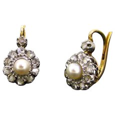 Belle Epoque Natural Pearl & Rose cut Diamonds Dormeuses Earrings, France, circa 1910