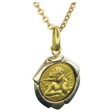 Vintage Angel Pendant / Charm, 18kt Yellow Gold
