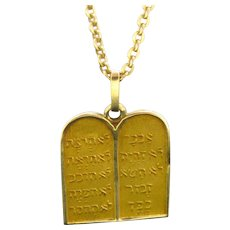 Vintage Moise and the 10 Commandments Pendant / Charm, 18kt Yellow Gold