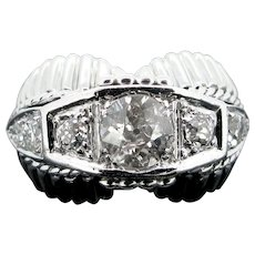 French Retro Diamonds Ring, 18kt Gold and Platinum