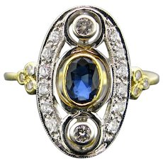 Vintage Sapphire and Diamond Ring, 18kt Yellow and White Gold