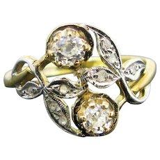 Antique Crossover Toi et Moi Diamond Ring, circa 1910