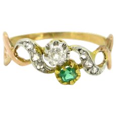 Antique Art Nouveau Crossover Emerald & Diamonds Ring, 18kt yellow and rose gold