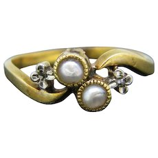 Late Victorian Pearls Ring, 18kt Yellow Gold