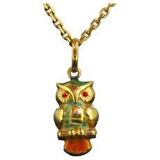 Vintage Enamelled Owl Pendant, 18kt gold, France