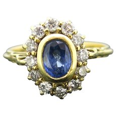 Vintage Sapphire and Diamonds Cluster Ring, 18kt Yellow Gold