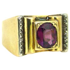 Vintage Garnet & Diamonds Tank Retro Ring, 18kt gold and silver