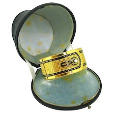 Antique Napoleon III Bangle in its box, 18kt gold and enamel, circa 1850