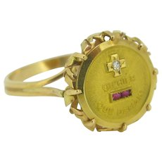 """+ que hier - que demain"" French love RING by A. Augis, c.1960, 18kt gold"
