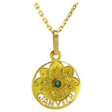 Antique Art Nouveau Janvier Pendant, 18kt gold, France, circa 1900
