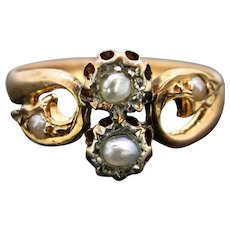 Antique French Late Victorian Pearls Ring, 18kt Rose Gold, circa 1880