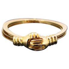Victorian Gimmel Fede Ring, 18kt Rose Gold