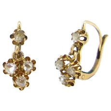 Antique Victorian Rose cut diamonds Dormeuses Earrings, 18kt yellow gold, circa 1880
