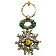 Antique Legion d'Honneur Medal Pendant, Diamonds & Enamel, circa 1810