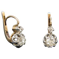 French Antique Diamonds Dormeuses, 18kt gold and platinum, early 20th century