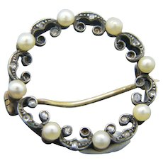 French early 20th Century Pearl Brooch, 18kt Gold and Platinum