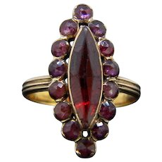 Antique Georgian Garnet Marquise Ring 18kt Rose Gold